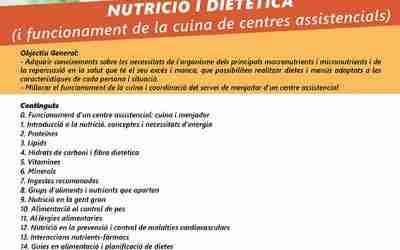 Curs sobre Nutrició i Dietètica per a cuiners i ajudants de cuina de centres assistencials